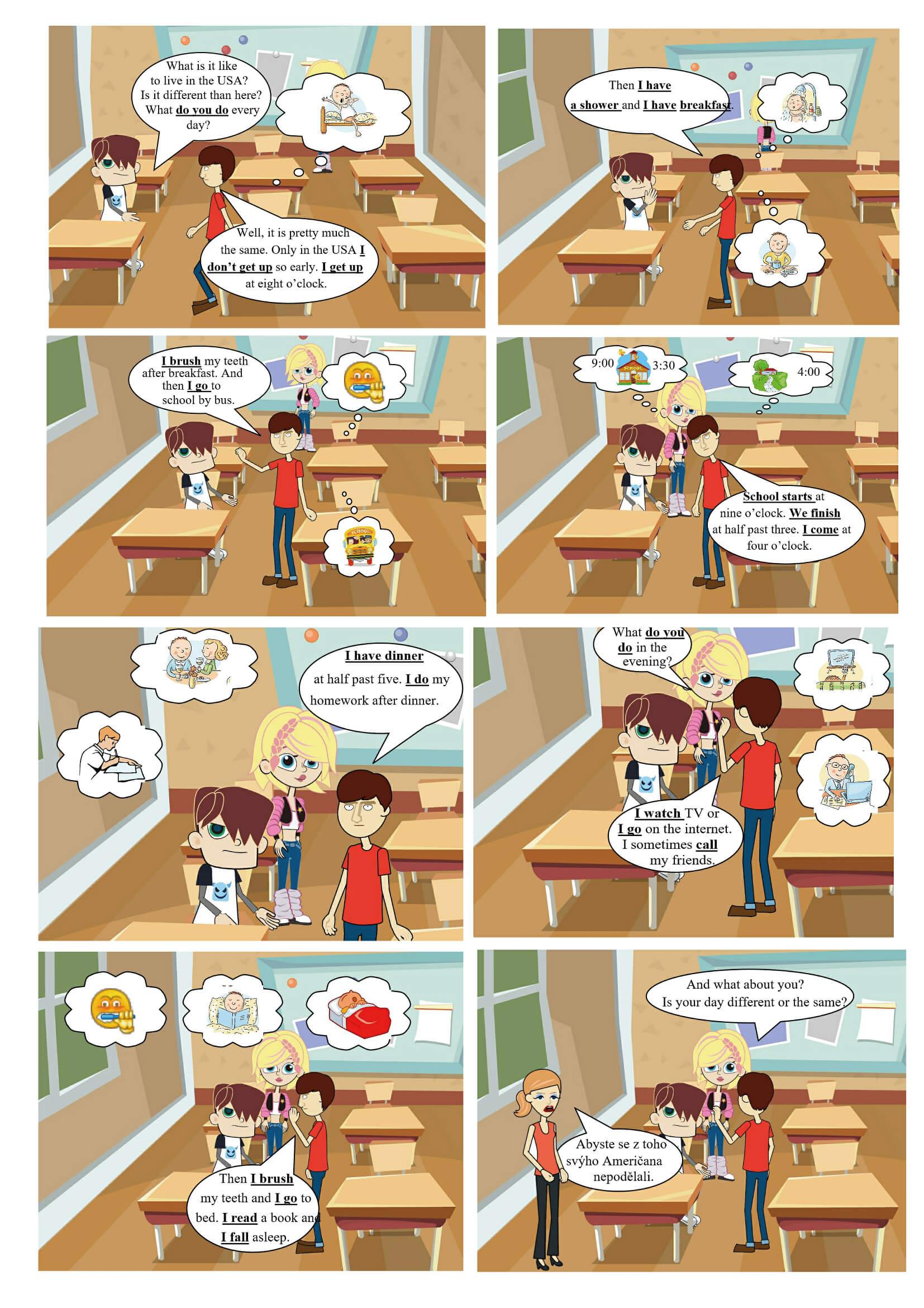Present simple tense comics full