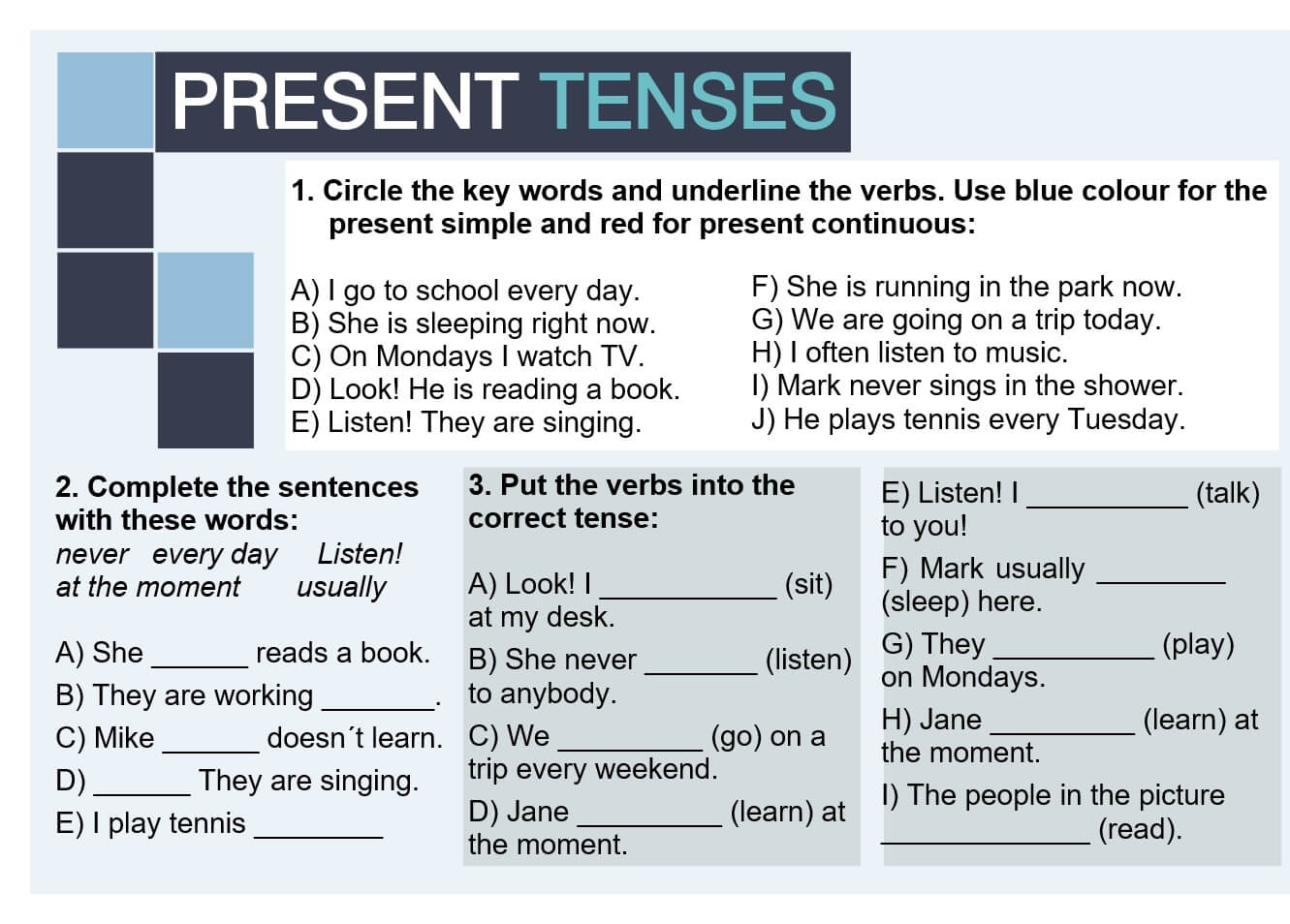 Present tenses - using keywords - Games to learn English | Games ...