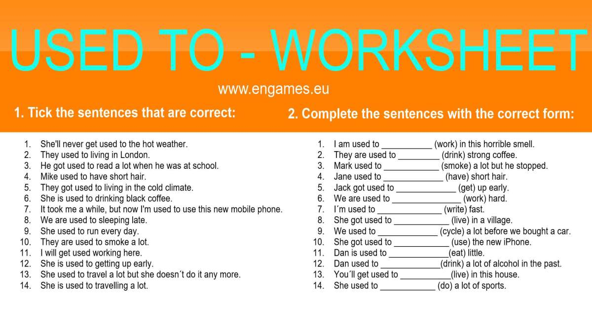 Used to worksheet facebook www.engames.eu